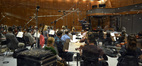 The orchestra in action under the baton of composer Christopher Lennertz