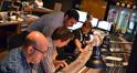 Orchestrator Randy Kerber, composer assistant Braden Kimball, composer John Paesano, scoring mixer Alan Meyerson and stage recordist Tim Lauber