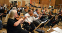 Concertmaster Jim Sitterly and the violin section