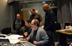 Music supervisor Bob Badami, lead orchestrator Bruce Fowler (obscured), additional composer Tom Gire, music contractor Peter Rotter, composer Hans Zimmer and music librarian Booker White