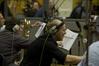Andy Wood (eating a pencil), Roger Argente (bass trombone), Owen Slade (tuba)