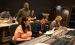 (rear row) Additional composer Philip Klein, orchestra contractor Reggie Wilson, ProTools recordist Nick Baxter, (front row) orchestrator Penka Kouneva, scoring mixer Justin Moshkevich, and stage engineer Charlie Pakaari