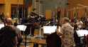 Composer and conductor Fil Eisler records with the orchestra