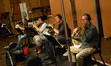 The French horn section: Phil Yao, Laura Brenes, Steve Becknell, and Mark Adams