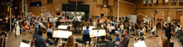 Actor Nick Wechsler talks to the orchestra and crew at the <i>Revenge</i> sessions