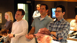 Producer Bryan Burk, director J.J. Abrams and composer Michael Giacchino listen - and react - to the finale cue for the first time (1 of 4)