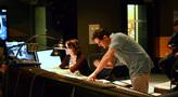 Score coordinator Andrea Datzman and composer Michael Giacchino