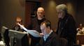 Technical music supervisor Phil McGowan, composer Trevor Morris, ProTools recordist Erik Swanson, and producer Paul Novros