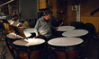 Percussionist Peter Limonick performs on timpani