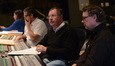 Orchestrator Germaine Franco, composer John Powell, scoring mixer Sean Murphy, and scoring stage manager Tom Steel in the booth