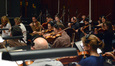 The violins and violas perform on <i>Copperhead</i>