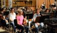 Violinists Darius Campo (rear), Natalie Leggett, and concertmaster Bruce Dukov