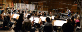 Conductor Gordon Goodwin and the Hollywood Studio Symphony prepare to record