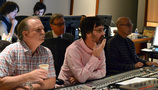 Scoring consultant David Connor, director Paul Feig, composer Michael Andres, and orchestra recordist Bruce Botnick