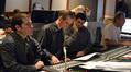 Score coordinator Alex Bornstein, orchestrator Andrew Kinney, score coordinator Drew Silverstein, and scoring mixer Jeff Vaughn