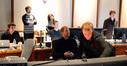 Score mixing assistant Kyle Biane, director Jason Reitman, film editor Dana Glauberman, ProTools recordist Ryan Robinson, composer Rolfe Kent, scoring mixer Greg Townley, and music editor Nick South