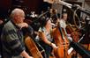 The cellos: Steve Richards, Giovanna Clayton, Armen Ksajikian, and Rudolph Stein