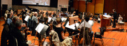Composer/conductor Rolfe Kent and the orchestra record a cue from <i>Labor Day</i>