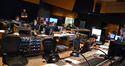 The booth at Fox: technical assistant Neil Parfitt, music editor Will Kaplan, ___, ProTools recordist Eric Swanson, composer Andrew Lockington, scoring mixer Brade Haehnel, and stage recordist Tim Lauber