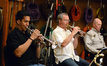The trumpets: Barry Perkins, Jon Lewis, and Rob Frear