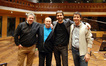 L-R: Music contractor Paul Talkington, recording and mixing engineer John Kurlander, composer Olivier Deriviere and conductor Alain Joutard. Tired but happy!