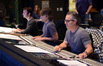 Additional music composers Brandon Roberts and Buck Sanders at the board with composer Marco Beltrami