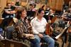 Concertmaster Belinda Broughton and violinist Darius Campo