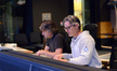 Additional music composer Buck Sanders and composer Marco Beltrami listen to a cue