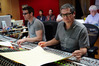 Score engineer Nick Wollage, composer John Powell and music editor Tom Carlson (rear)
