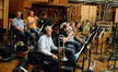 The brass section: trumpets Dave Washburn, Jon Lewis, and Barry Perkins; trombones Bill Booth, Alex Iles, Phil Keen, Steve Trapani, and Bill Reichenbach (bass trombone); and Doug Tornquist on tuba