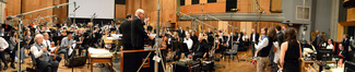 Composer Michael Giacchino, conductor/orchestrator Tim Simonec, and the orchestra acknowledge the recording staff