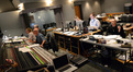 Music librarian Mark Graham (obscured), score producer Solré Lemonnier, scoring recordist Brad Haehnel, Adam Michalak, ProTools recordist Erik Swanson, and supervising music editor Ken Karman