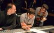 Scoring mixer Gustavo Borner and co-composer Philip Klein listen as co-director Danny Jacobs gives feedback