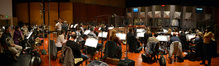 Composer and conductor Timothy Williams and the orchestra