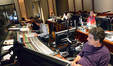 Orchestrator Andrew Kinney and scoring mixer Jeff Vaughn go over a cue as ProTools recordist Kevin Globerman and stage recordist Tom Hardisty standby