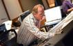 Scoring mixer Jeff Vaughn makes an adjustment