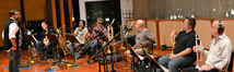 Composer Christopher Lennertz with the 6-piece horn section