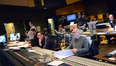 The control booth: orchestrator John Ashton Thomas, additional music composer Braden Kimball, composer assistant Josh Johnson, composer John Paesano, orchestrator Nolan Livesay (rear), and scoring mixer Dennis Sands