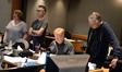 Music editor Tonya Hill, music editor Chuck Martin, orchestrator Dave Slonaker, and music librarian Mark Graham