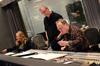 Booth reader Margaret Batjer, trumpet player Jon Lewis, and composer/conductor Joel McNeely