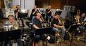 The brass section: trumpets Dan Rosenboom, Jon Lewis, & Jim Grinta; trombones Bill Booth, Alex Iles, Steve Holtman, & Bill Reichenbach; and tuba Doug Tornquist