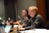 Music editor Chuck Martin and orchestrator Dave Slonaker listen to a cue