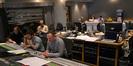 Composer Christophe Beck, scoring assistant Leo Birenberg, director James Bobin (rear), scoring mixer Casey Stone, music editor Richard Ford (hidden), and ProTools recordist Larry Mah