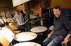 Percussionists MB Gordy (obscured), Wade Culbreath, Alan Estes, and Greg Goodall