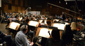 The orchestra prepares to record under the baton of Tim Davies