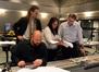 Composer Nathan Furst (seated), orchestrator Jeremy Borum, orchestrator Penka Kouneva, and scoring mixer Mark Curry