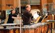Percussionists Brian Kilgore, Danny Greco (obscured), and Don Williams