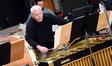 Percussionist Danny Greco plays the vibraphone