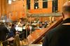 Concertmaster Bruce Dukov talks to pianist Randy Kerber