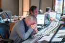 Composer Blake Neely and scoring mixer Greg Hayes share a moment of levity